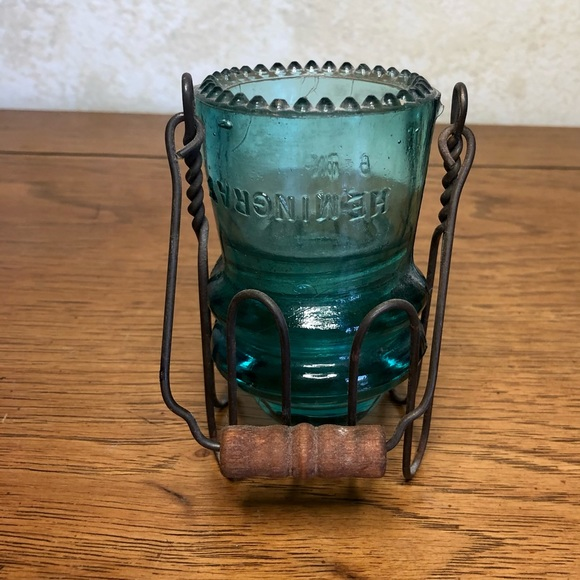 Up cycled teal insulator/ jar dipper candle holder